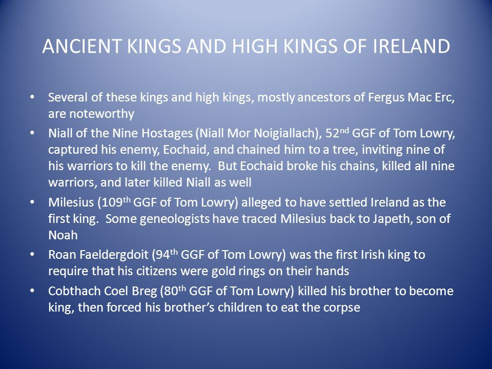 ANCIENT KINGS AND HIGH KINGS OF IRELAND