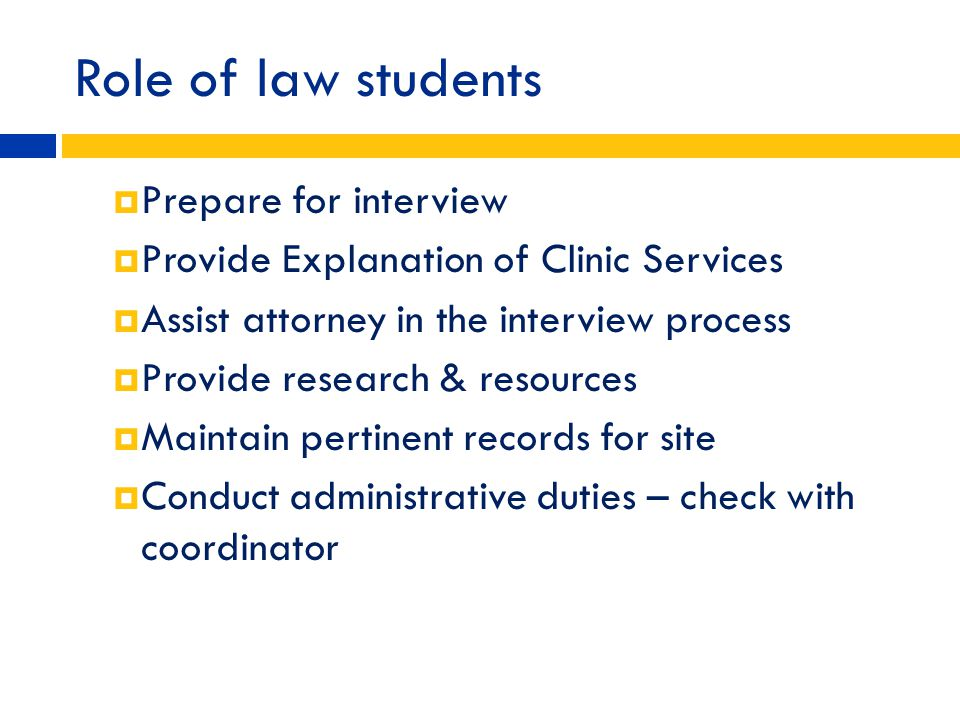 Role of law students Prepare for interview