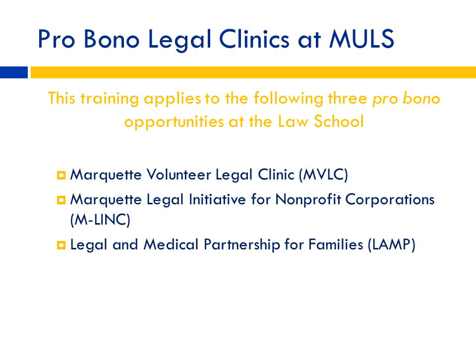 Pro Bono Legal Clinics at MULS