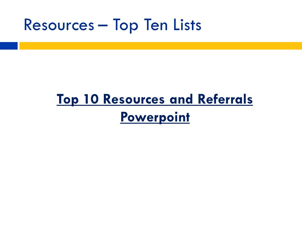 Resources – Top Ten Lists