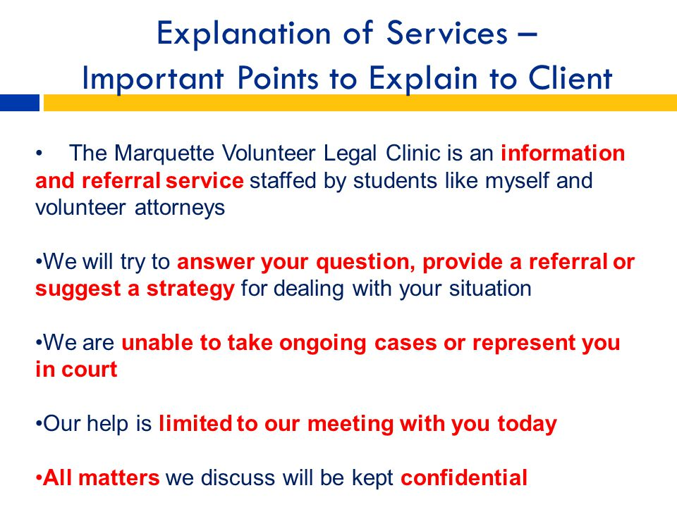 Explanation of Services – Important Points to Explain to Client