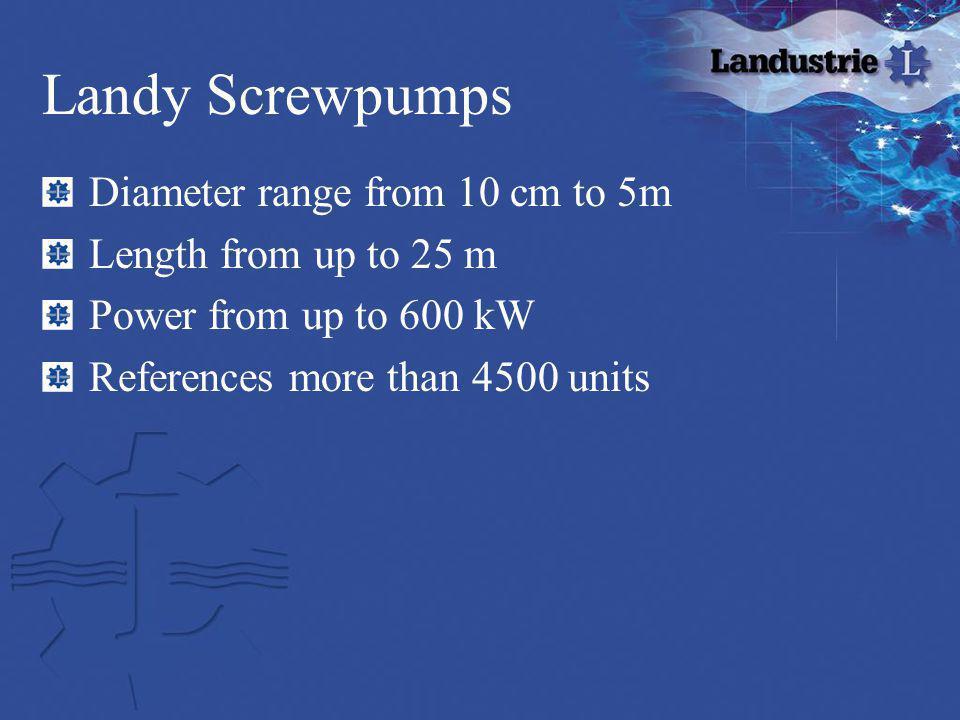 Landy Screwpumps Diameter range from 10 cm to 5m