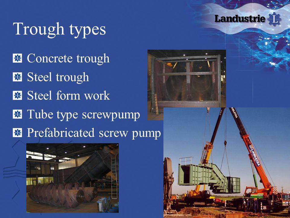 Trough types Concrete trough Steel trough Steel form work
