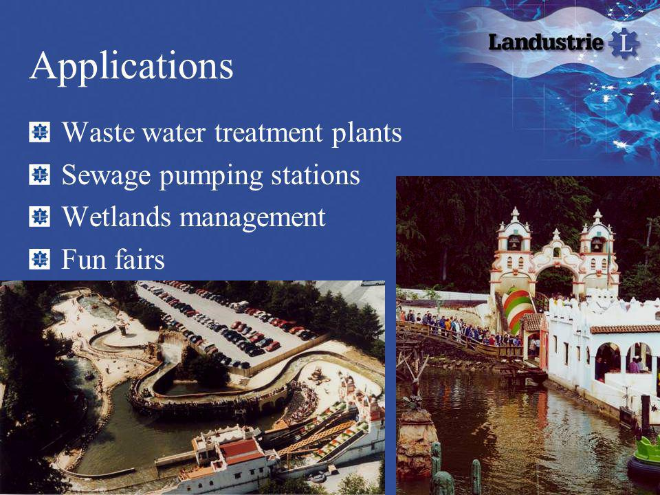Applications Waste water treatment plants Sewage pumping stations