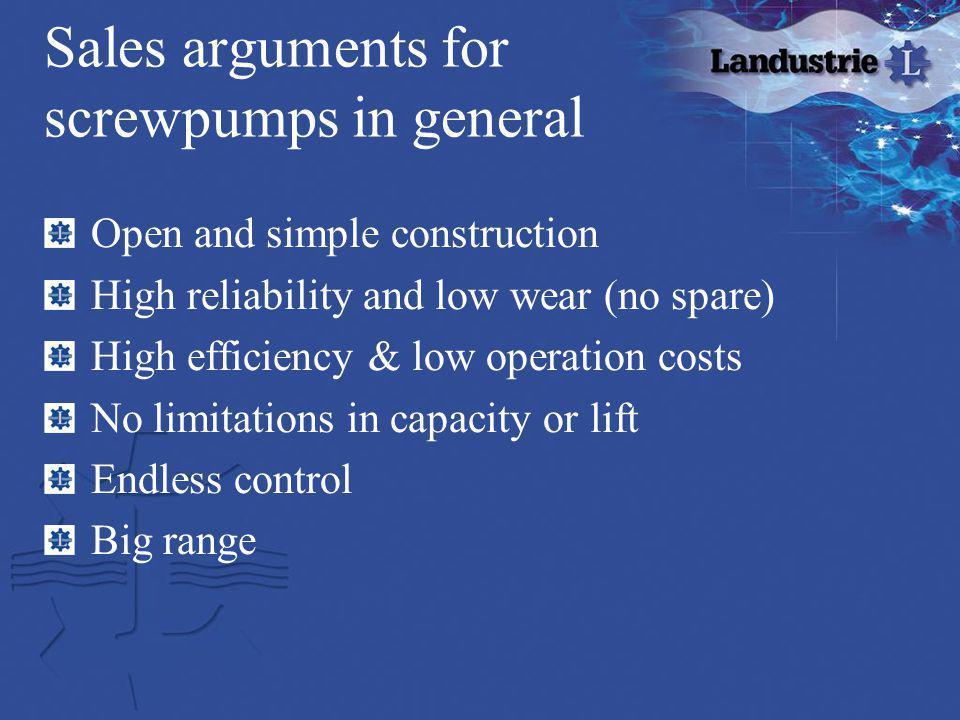 Sales arguments for screwpumps in general