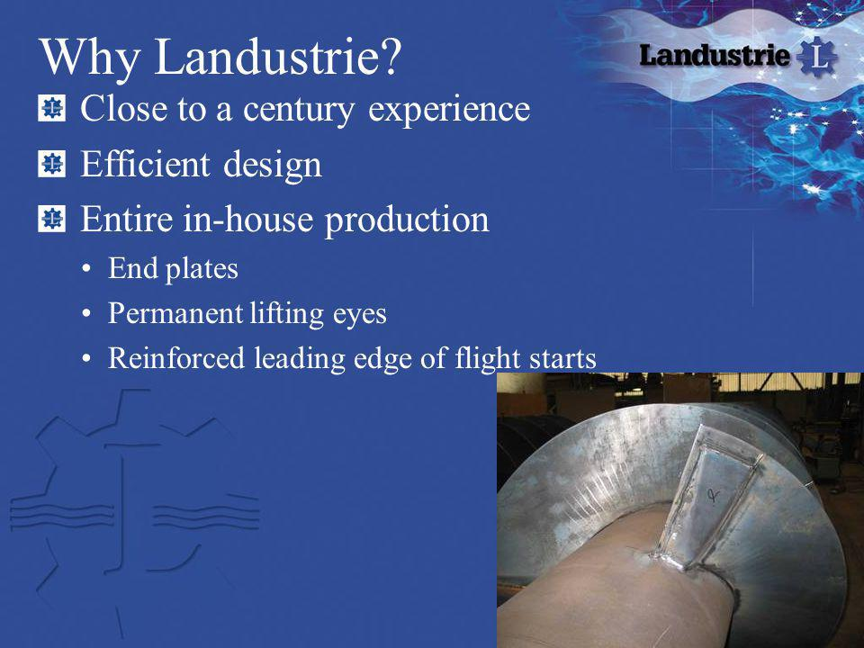 Why Landustrie Close to a century experience Efficient design