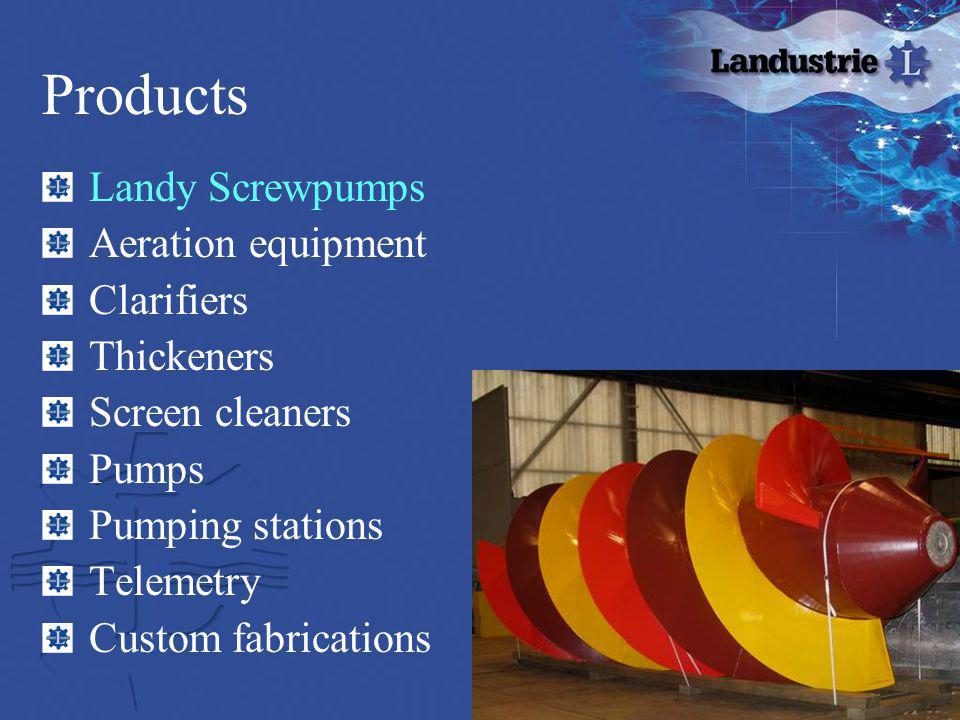 Products Landy Screwpumps Aeration equipment Clarifiers Thickeners