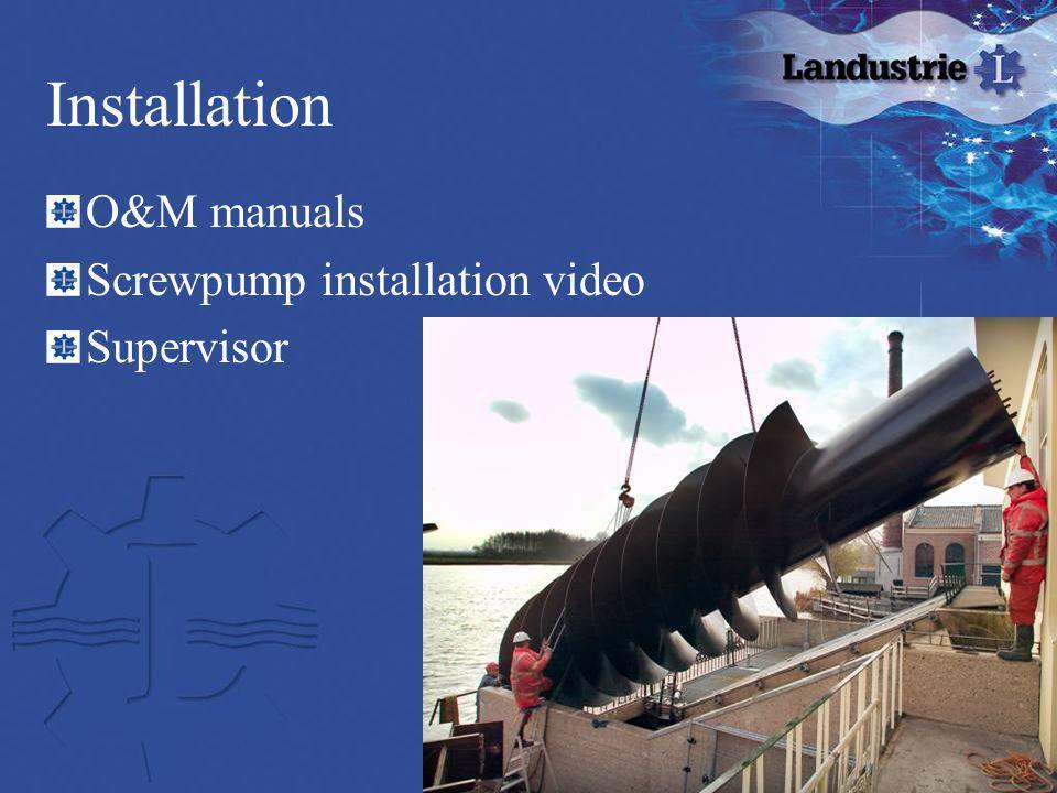 Installation O&M manuals Screwpump installation video Supervisor