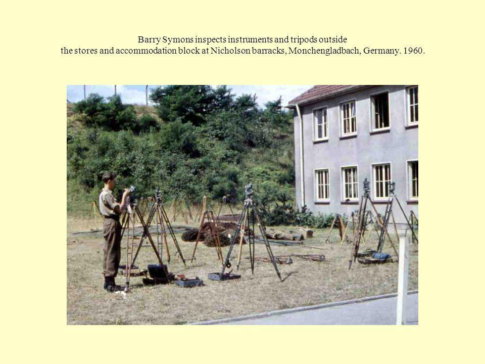 Barry Symons inspects instruments and tripods outside the stores and accommodation block at Nicholson barracks, Monchengladbach, Germany.
