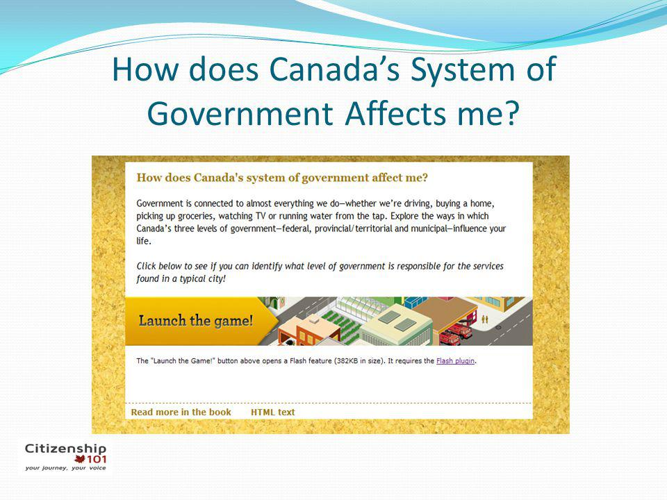 How does Canada's System of Government Affects me