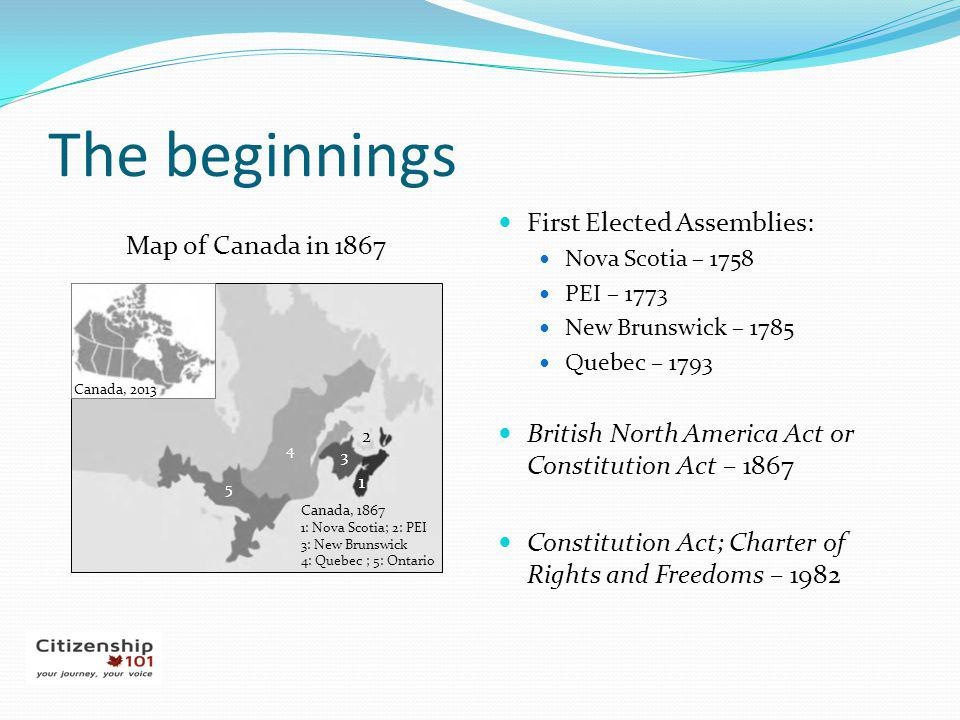 The beginnings First Elected Assemblies: Map of Canada in 1867