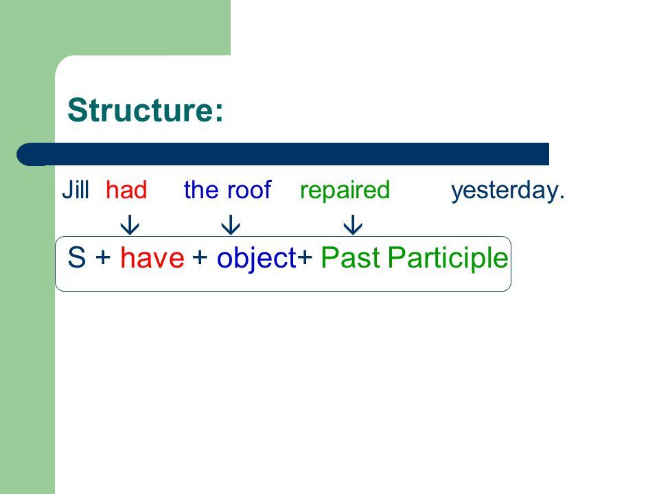 Structure: S + have + object+ Past Participle