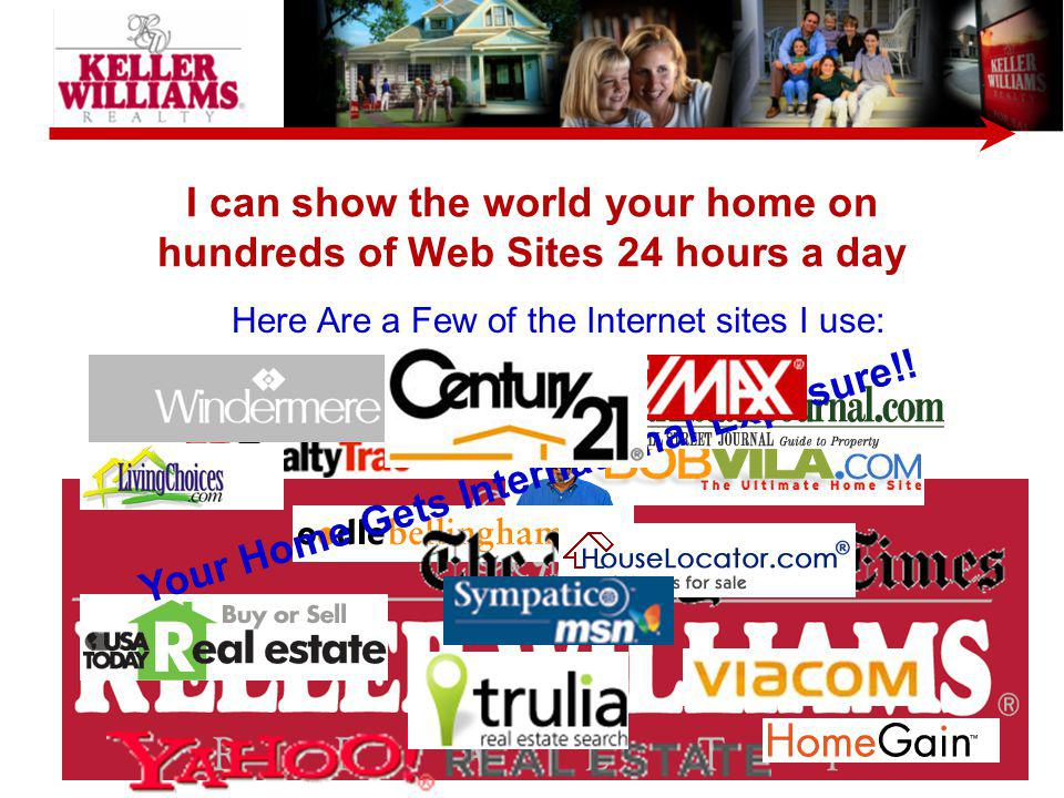 I can show the world your home on hundreds of Web Sites 24 hours a day