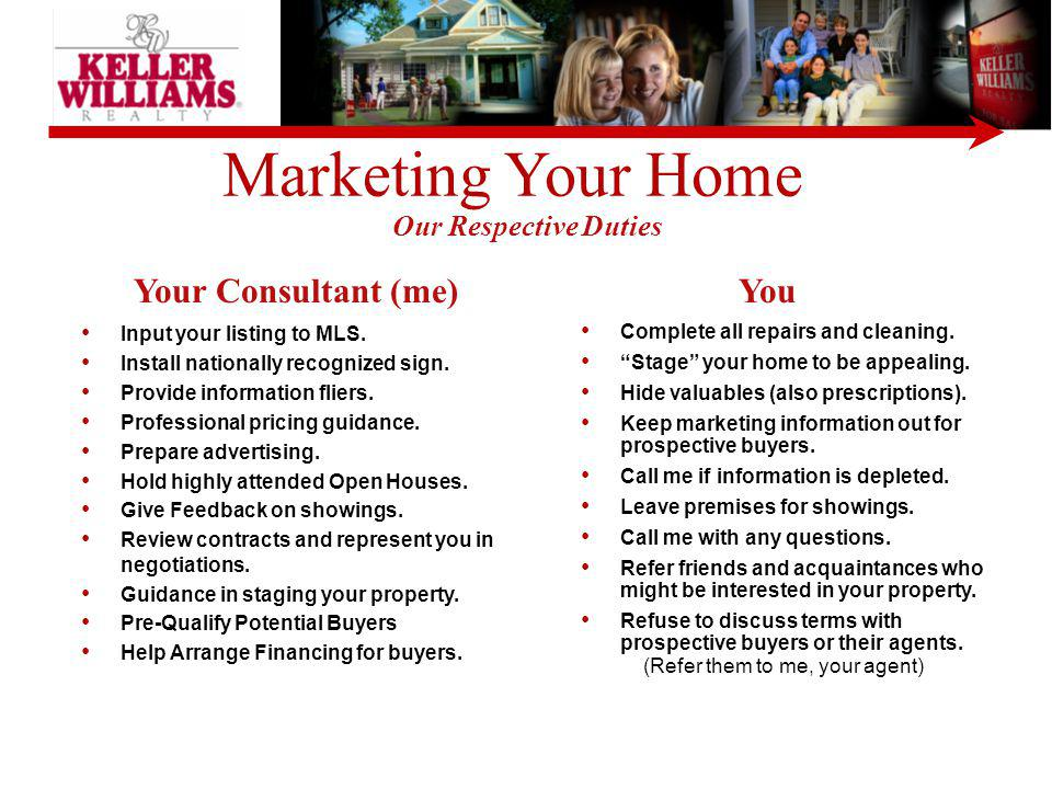 Marketing Your Home Your Consultant (me) You Our Respective Duties