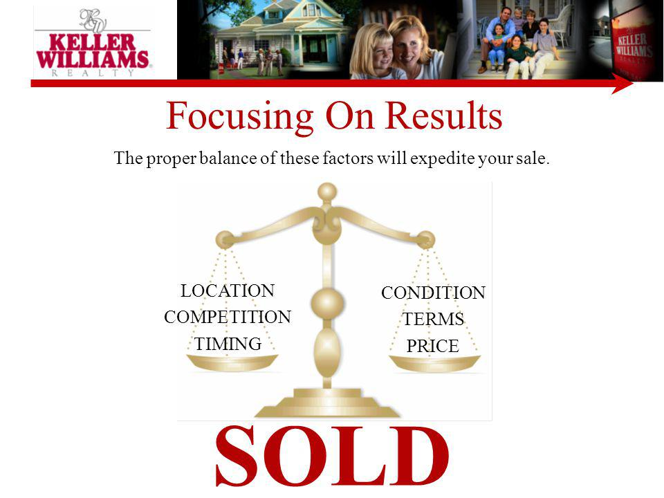 The proper balance of these factors will expedite your sale.