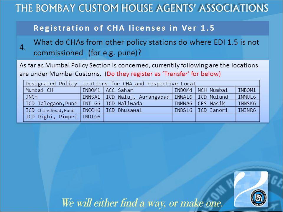 Registration of CHA licenses in Ver 1.5 4.