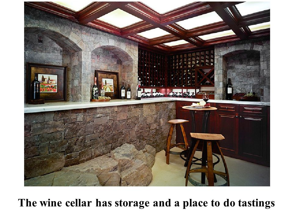 The wine cellar has storage and a place to do tastings