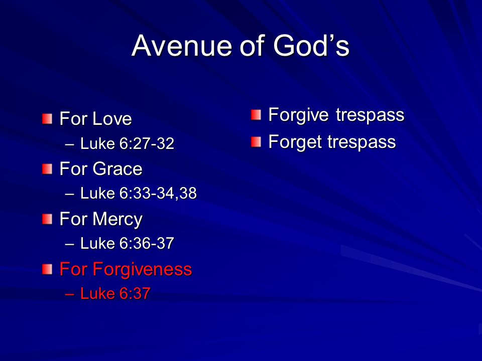 Avenue of God's Forgive trespass For Love Forget trespass For Grace