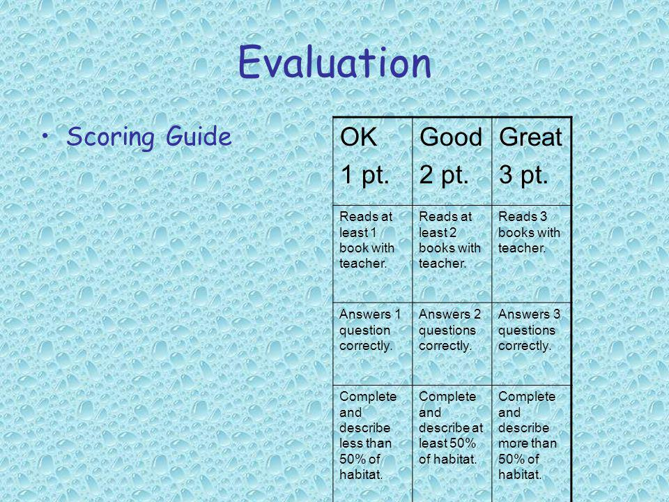 Evaluation Scoring Guide OK 1 pt. Good 2 pt. Great 3 pt.