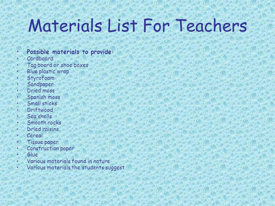 Materials List For Teachers