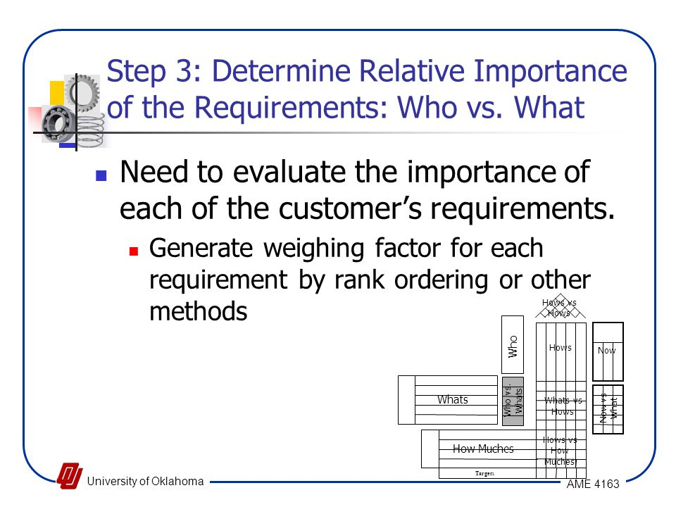 Step 3: Determine Relative Importance of the Requirements: Who vs. What