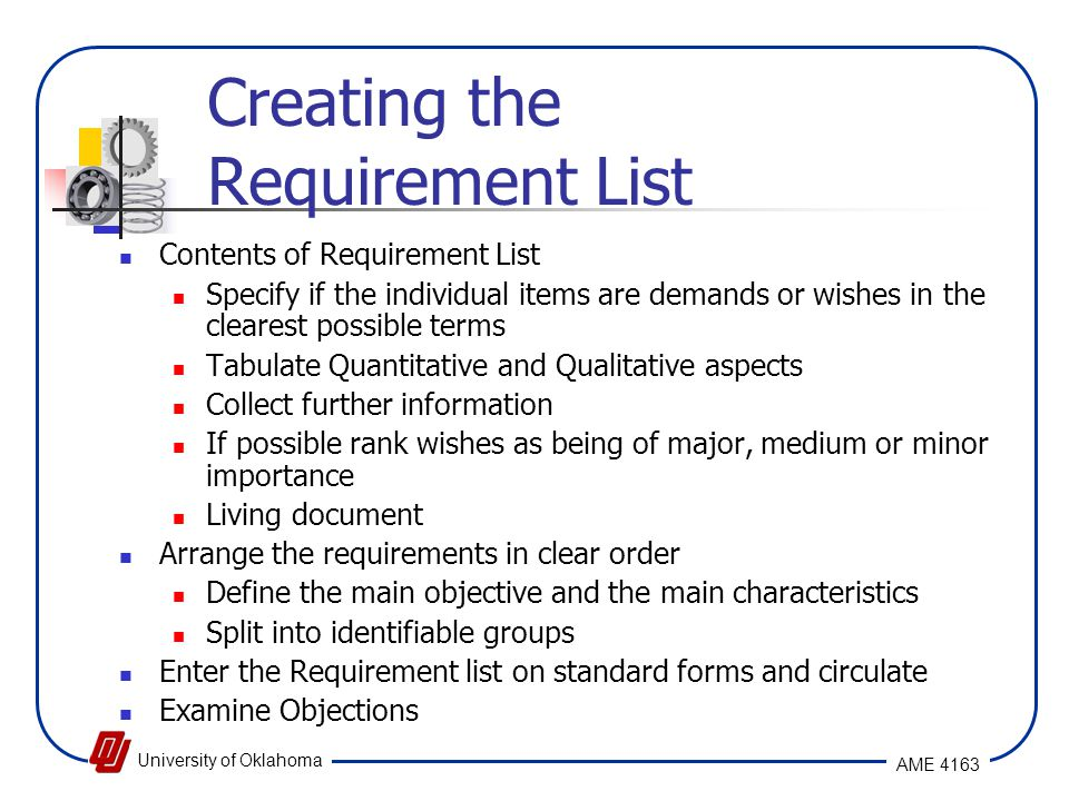 Creating the Requirement List