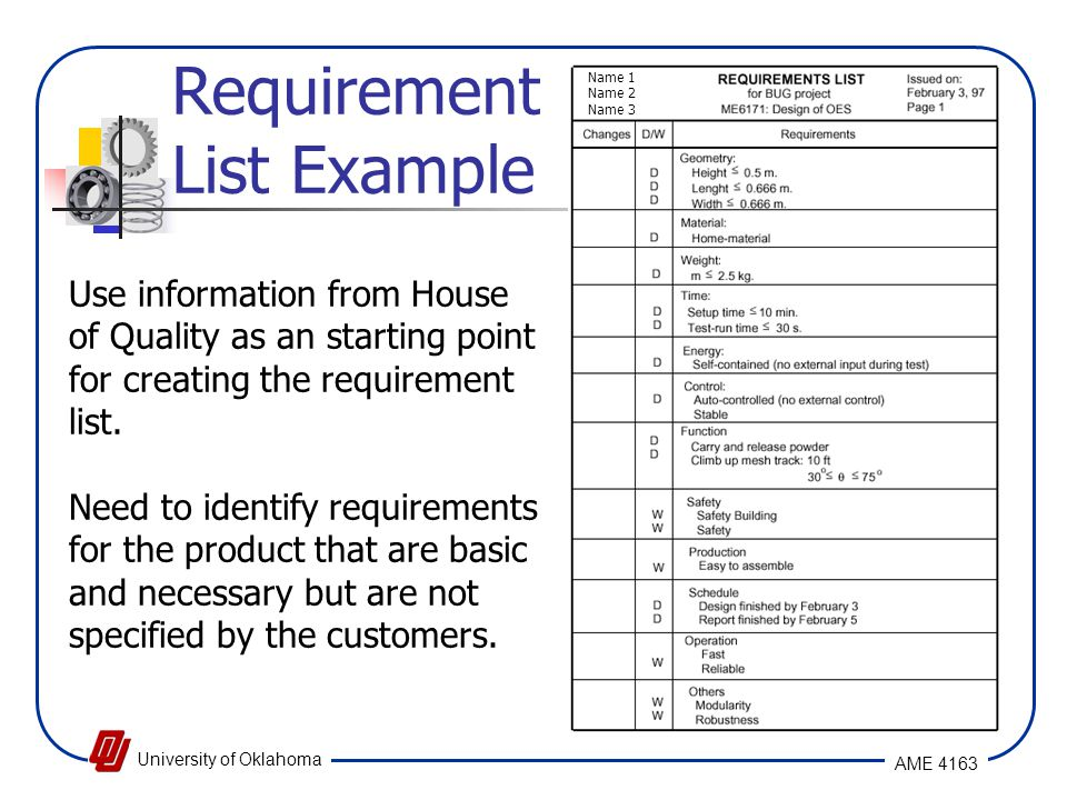 Requirement List Example