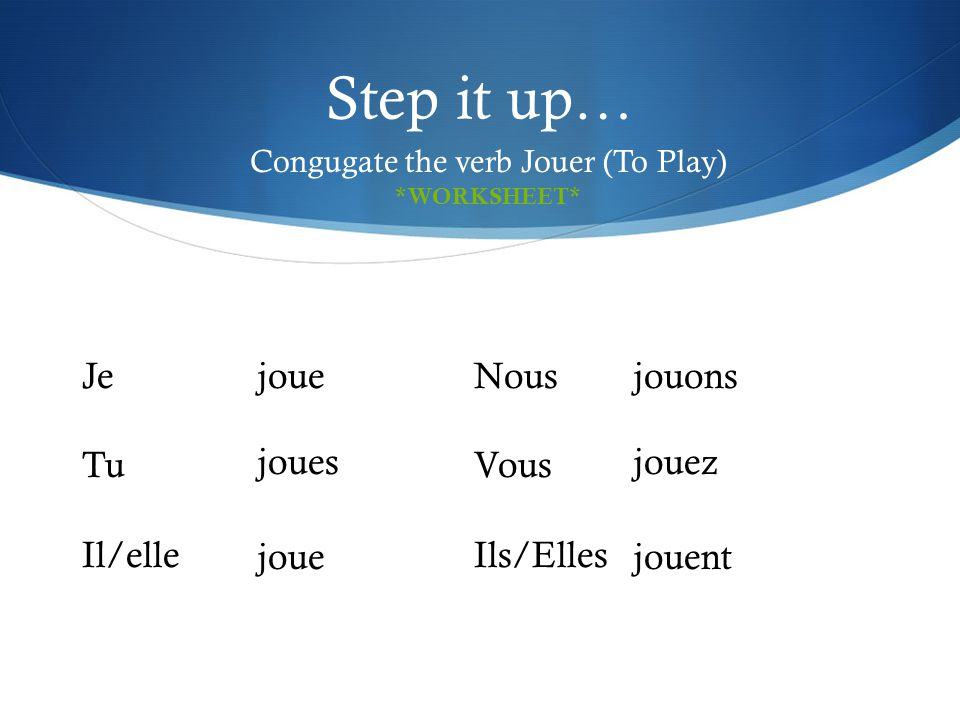 Congugate the verb Jouer (To Play)