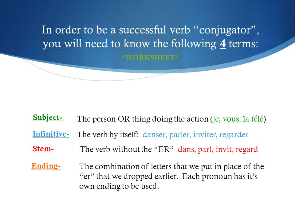 In order to be a successful verb conjugator , you will need to know the following 4 terms: