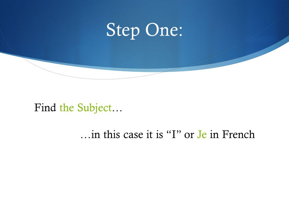 Step One: Find the Subject… …in this case it is I or Je in French