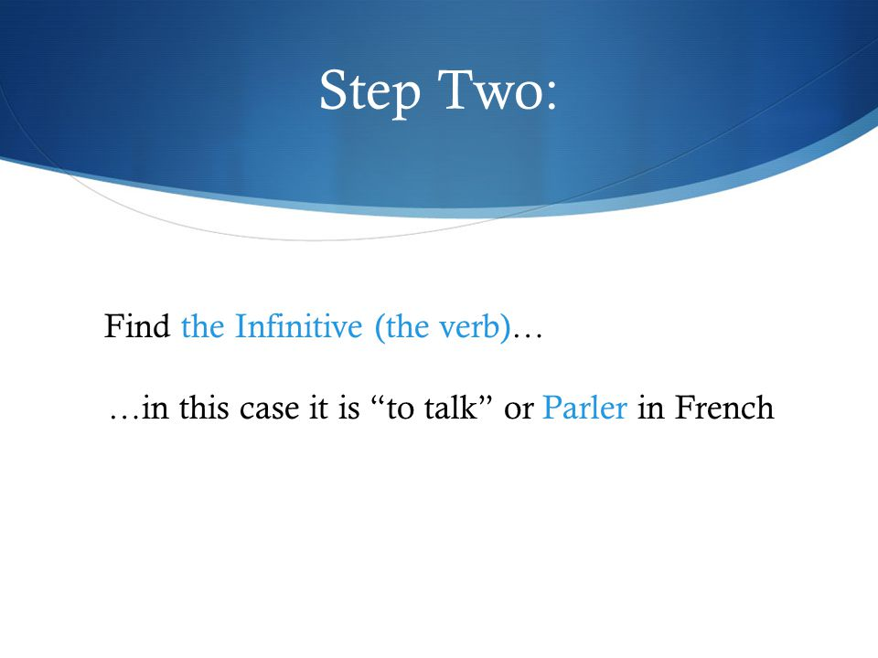 Step Two: Find the Infinitive (the verb)…