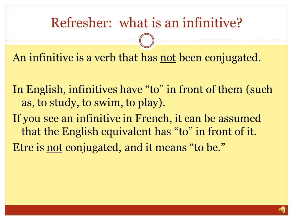 Refresher: what is an infinitive