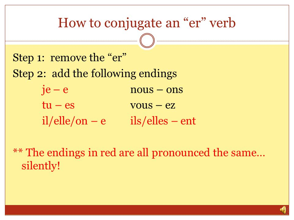 How to conjugate an er verb