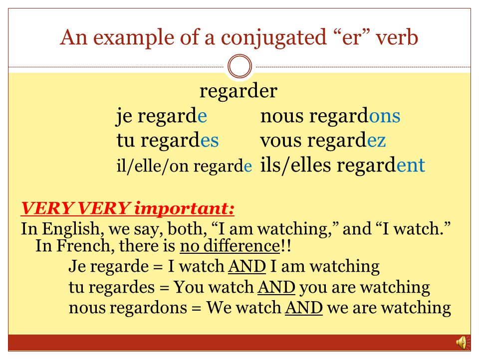 An example of a conjugated er verb