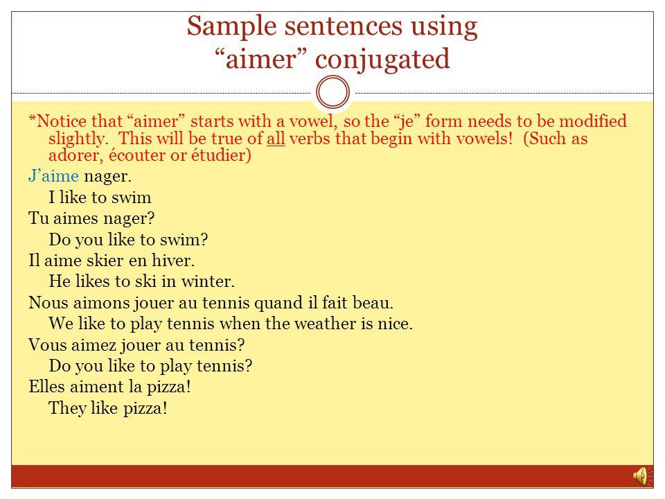 Sample sentences using aimer conjugated