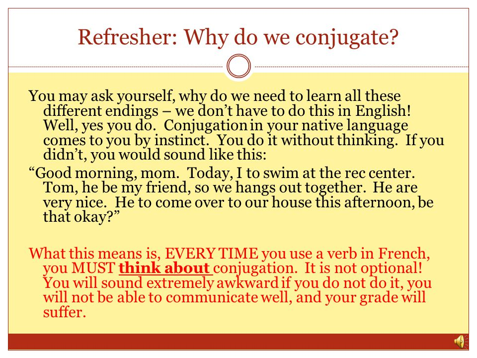 Refresher: Why do we conjugate