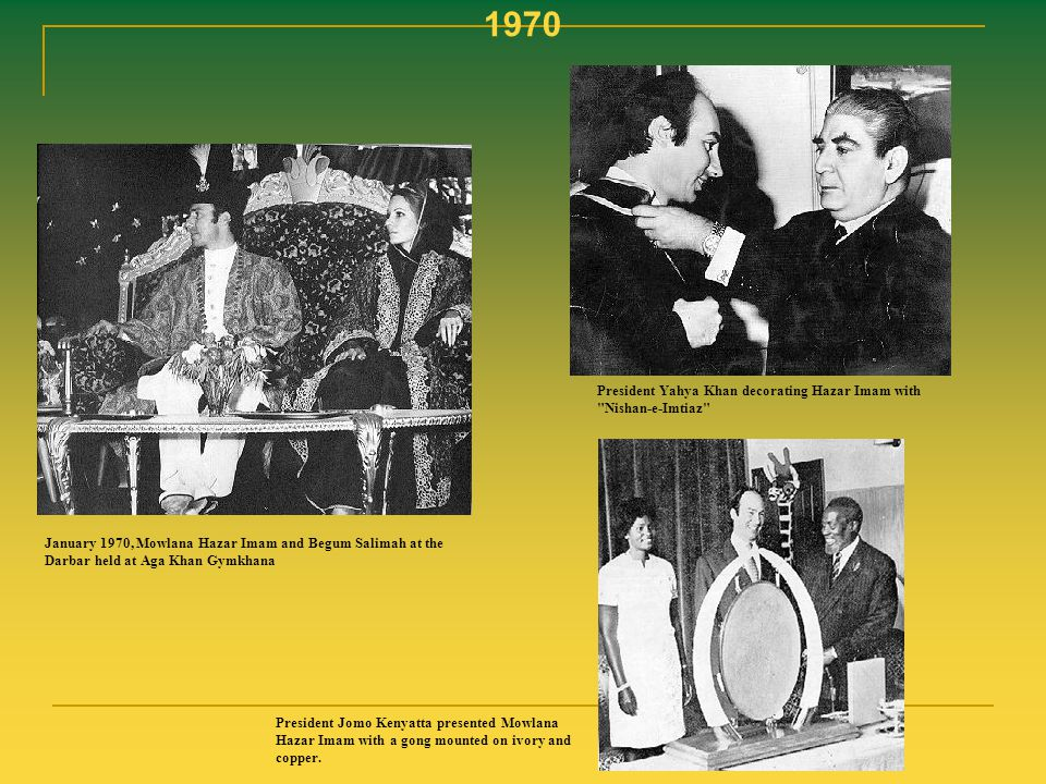 1970 President Yahya Khan decorating Hazar Imam with Nishan-e-Imtiaz