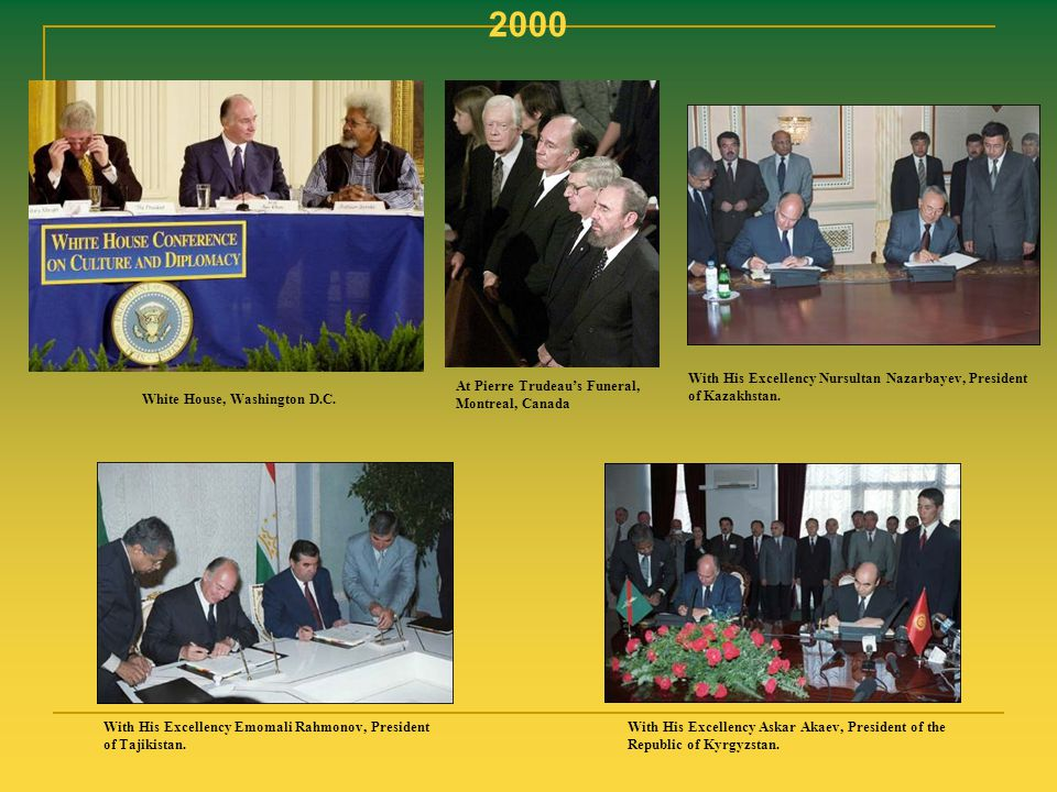 2000 With His Excellency Nursultan Nazarbayev, President of Kazakhstan. At Pierre Trudeau's Funeral, Montreal, Canada.