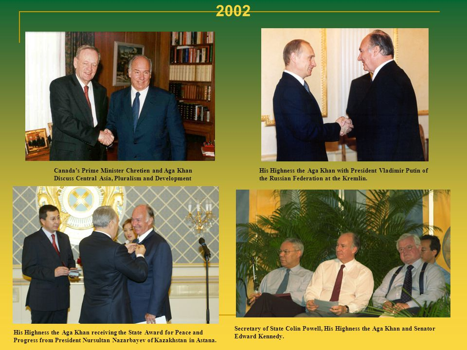 2002 Canada's Prime Minister Chretien and Aga Khan Discuss Central Asia, Pluralism and Development.