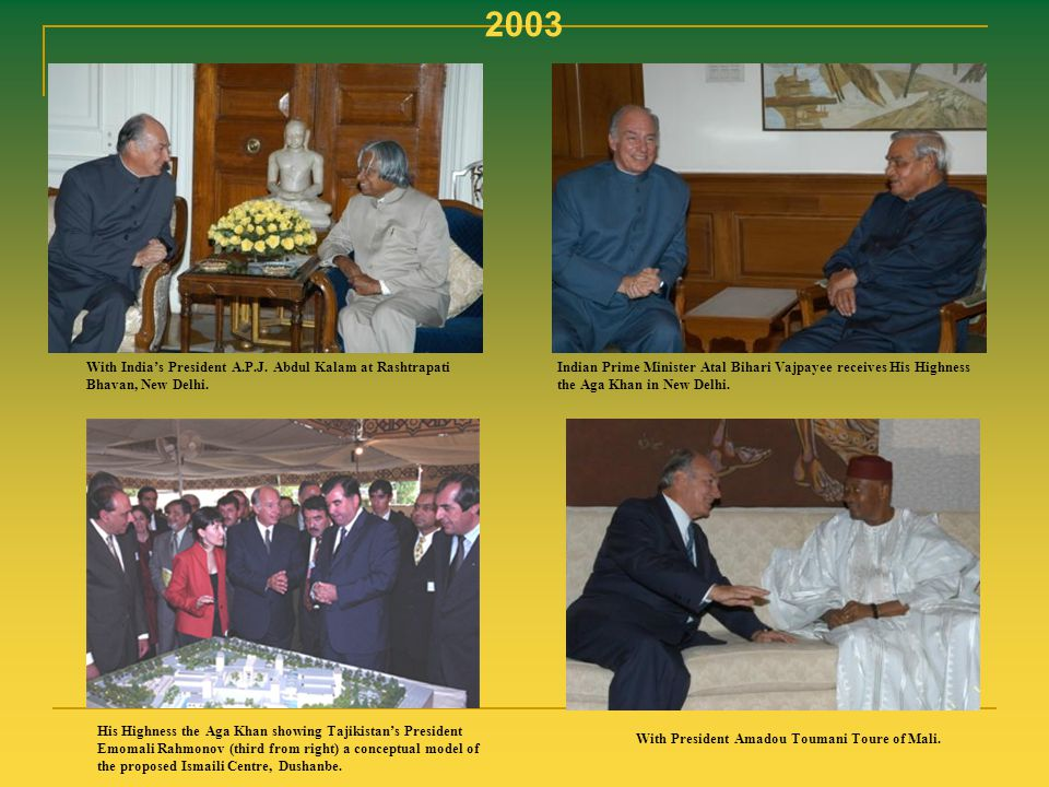 2003 With India's President A.P.J. Abdul Kalam at Rashtrapati Bhavan, New Delhi.