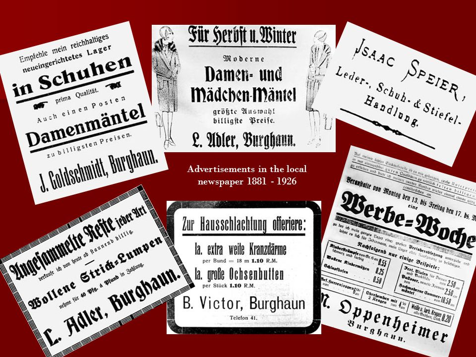 Advertisements in the local newspaper 1881 - 1926