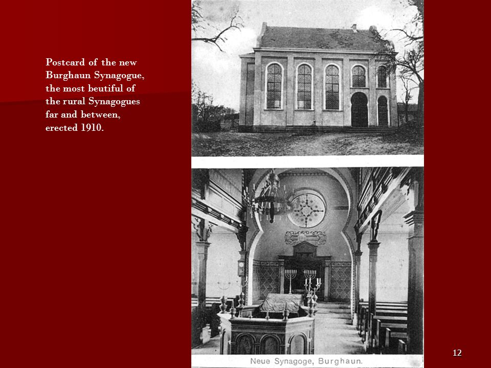 Postcard of the new Burghaun Synagogue, the most beutiful of the rural Synagogues far and between, erected 1910.