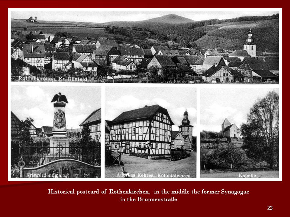 Historical postcard of Rothenkirchen, in the middle the former Synagogue in the Brunnenstraße
