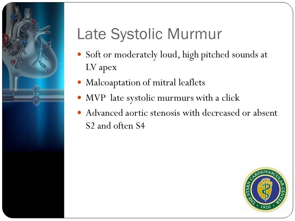 Late Systolic Murmur Soft or moderately loud, high pitched sounds at LV apex. Malcoaptation of mitral leaflets.