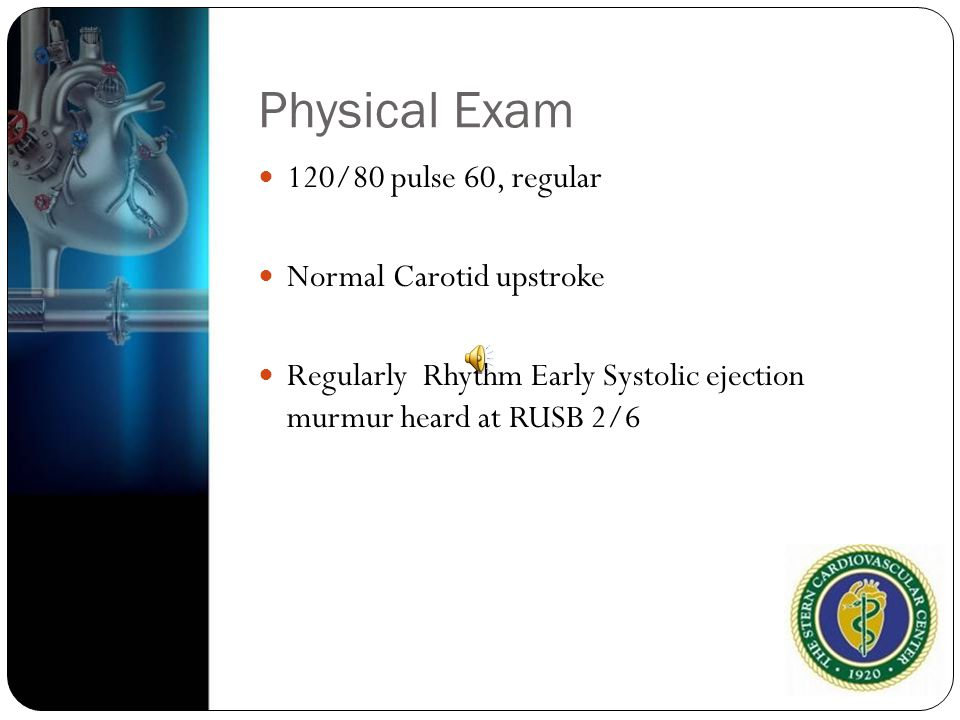 Physical Exam 120/80 pulse 60, regular Normal Carotid upstroke