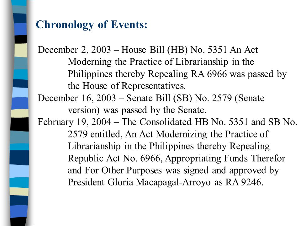 Chronology of Events: December 2, 2003 – House Bill (HB) No. 5351 An Act. Moderning the Practice of Librarianship in the.