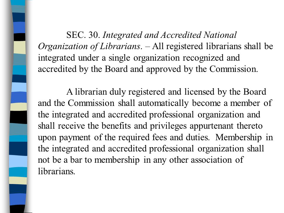 SEC. 30. Integrated and Accredited National