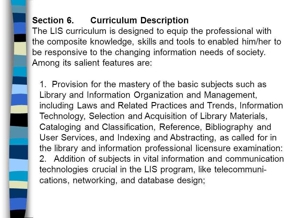 Section 6. Curriculum Description
