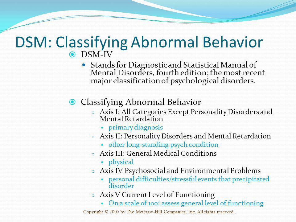 DSM: Classifying Abnormal Behavior