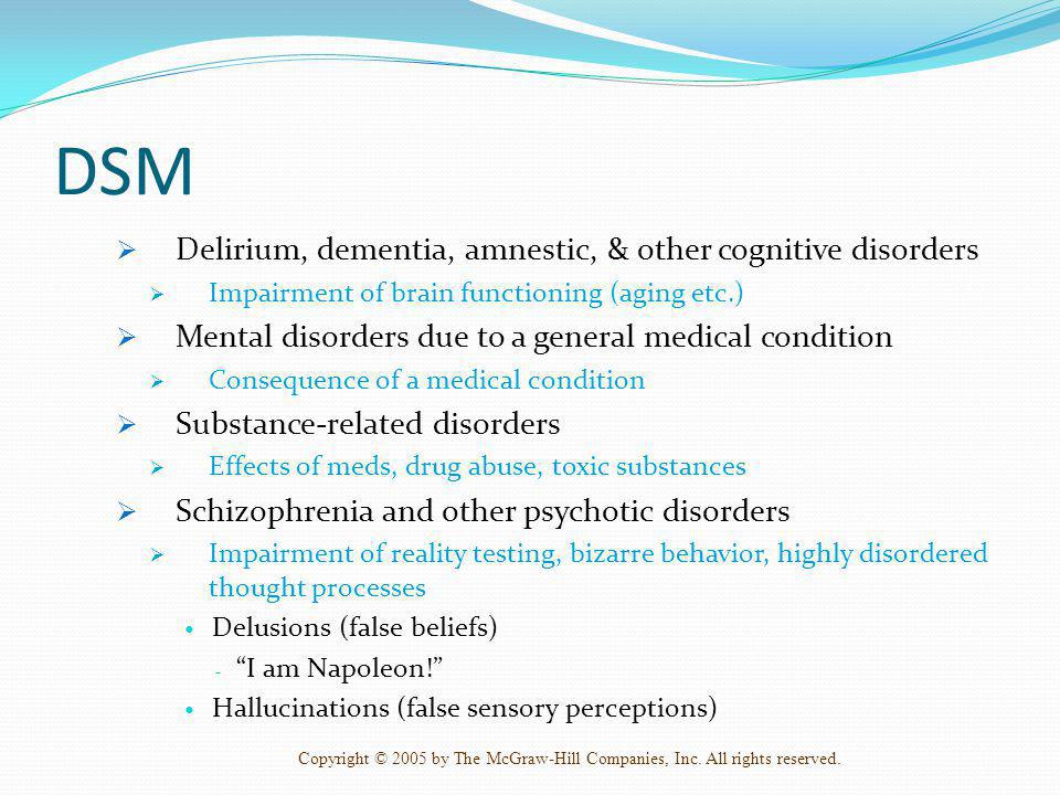 DSM Delirium, dementia, amnestic, & other cognitive disorders